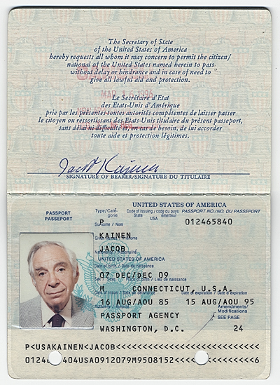 Jacob Kainens passport