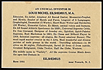 Louis Michel Eilshemius' business card