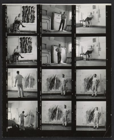 Craig Kauffman in his studio and images of an unidentified man also in a studio