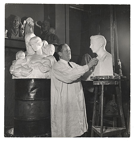 [Charles Keck working on a sculpture]