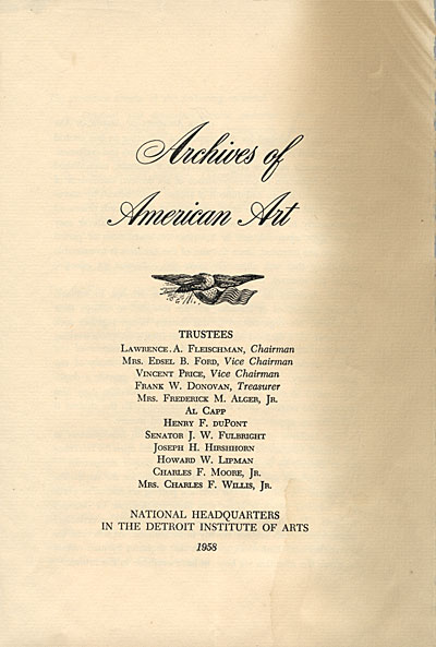 [Archives of American Art brochure]