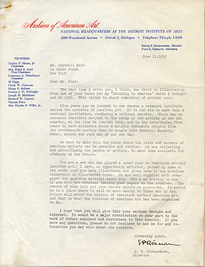 Edgar Preston Richardson, N.Y. letter to Rockwell Kent, Detroit, Mich.