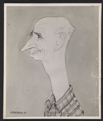 [Reproduction of a caricature of Rockwell Kent by Kukryniksy]