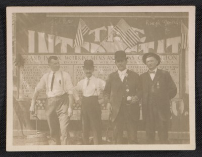 Four unidentified men photographed in Winona, Minnesota