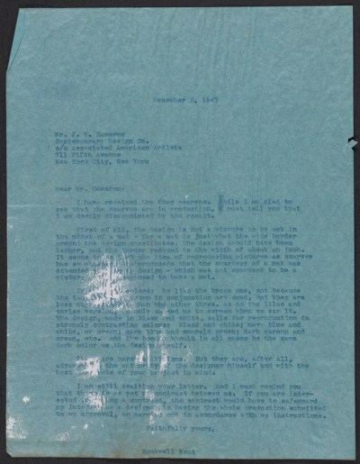Rockwell Kent letter to J. N. Cameron