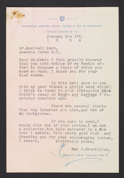 [Hal W. Trovillion letter to Rockwell Kent with enclosed bookplate]
