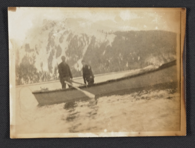 Rockwell Kent and son in a canoe in Alaska