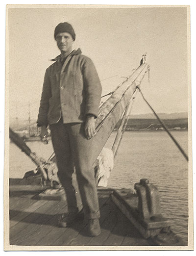 Rockwell Kent on a boat approaching Greenland