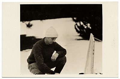 Rockwell Kent painting outdoors in the snow