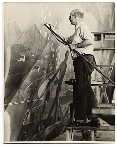 Rockwell Kent working on a mural for the Worlds Fair