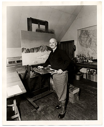 [Rockwell Kent working on a painting]