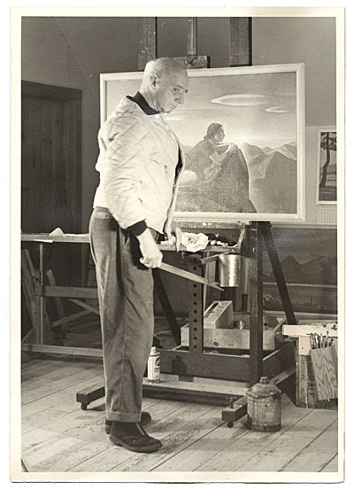 Rockwell Kent with a painting