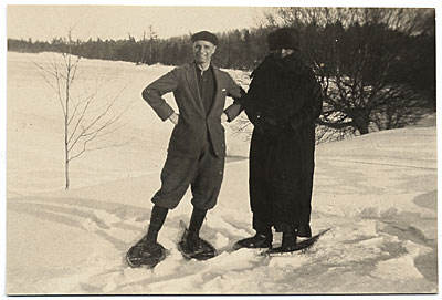 Rockwell Kent and an unidentified individual in the snow