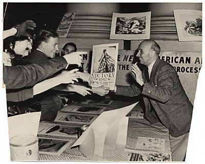 Rockwell Kent at the opening of his war poster exhibition