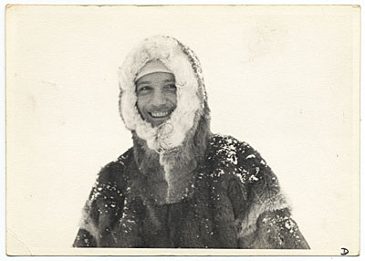 Rockwell Kent in a hooded fur coat in Greenland