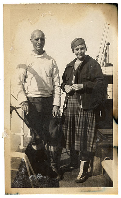 [Rockwell and Frances Kent on the boat to Greenland]