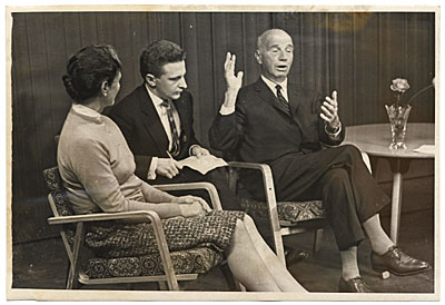 [Rockwell and Sally Kent being interviewed for Moscow television]