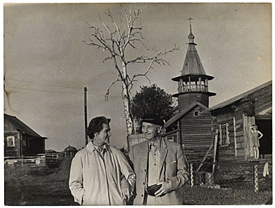 [Rockwell and Sally Kent in a USSR village]