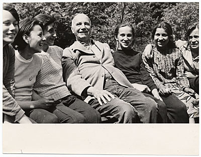 Rockwell Kent with a group of children in the USSR