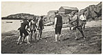 Rockwell Kent and friends playing ball on the beach