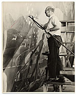 [Rockwell Kent working on a mural for the World's Fair ]
