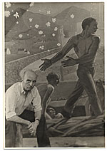 Rockwell Kent seated next to his mural for the Worlds Fair