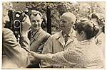 Rockwell Kent being filmed during his trip to Moscow