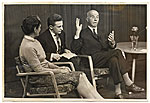 [Rockwell and Sally Kent being interviewed for Moscow television ]