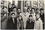 Rockwell and Sally Kent with a group of children in Moscow