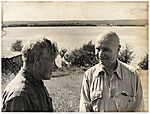 Rockwell Kent and an unidentified man talking during a visit to the USSR