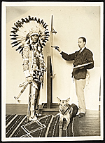 Chief Oskomon posing for W. Langdon Kihn