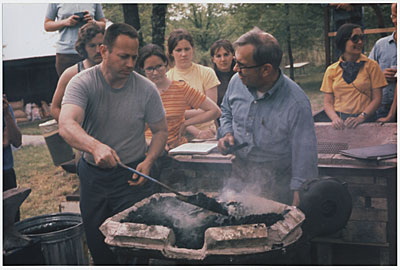 Fred Fenster and Alex Bealer at a blacksmithing workshop