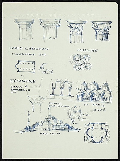 Eero Saarinen sketches depicting the history of architecture