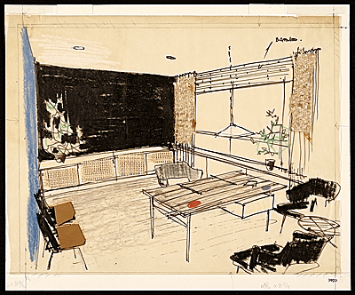 [Sketch of Hans Knoll's office]