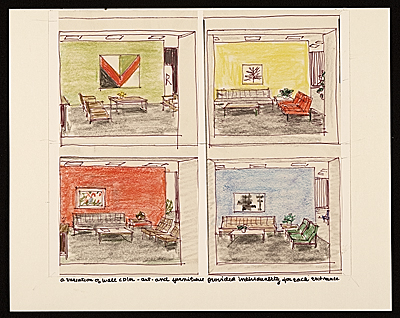 Sketches of various color and furniture schemes for each CBS entrance