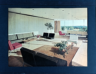 Connecticut General Building designed by Florence Knoll Bassett. Top floor lounge