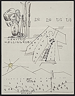 Eero Saarinen illustrated note to Florence Knoll Bassett
