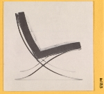 [Knoll Associates, Inc. announcement featuring a chair designed by Mies Van Der Rohe. ]
