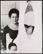 Freda Koblick with one of her sculptures