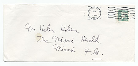 Emilio Sanchez, New York, N.Y. to Helen L. Kohen, Miami, Fla.