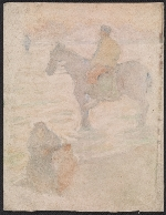 Monotype of a man on horseback with a woman and child in the foreground