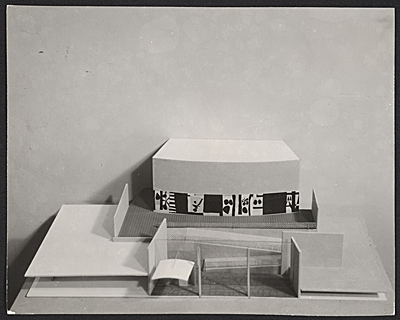 [Model of a school in Attleboro, Mass., complete with mock-up of a mural by Robert Motherwell]