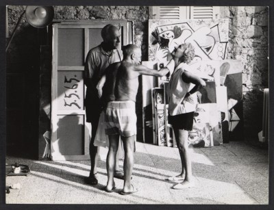 [Samuel Kootz, Pablo Picasso, and Jane Kootz in Picasso's studio]
