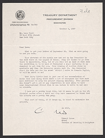 [Edward Bruce, Washington, D.C. letter to Leon Kroll]