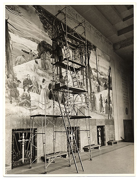 [Leon Kroll painting a mural in the Worcester Memorial Auditorium]