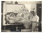 [Leon Kroll standing next to one of his paintings ]