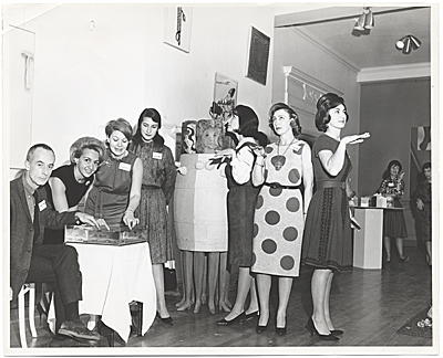 Joan Kron and others at the opening of the exhibition Art 1963-A New Vocabulary, organized by the Arts Council of the Young Mens and Young Womens Hebrew Association, Philadelphia, PA.
