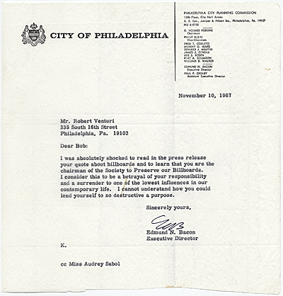 Edmund N. Bacon, Philadelphia, Pa. to Robert Venturi, Philadelphia, Pa.