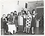 Joan Kron and others at the opening of the exhibition Art 1963-A New Vocabulary, organized by the Arts Council of the Young Men's and Young Women's Hebrew Association, Philadelphia, PA.