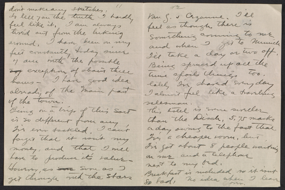 Final page of Walt Kuhn letter to Vera Kuhn